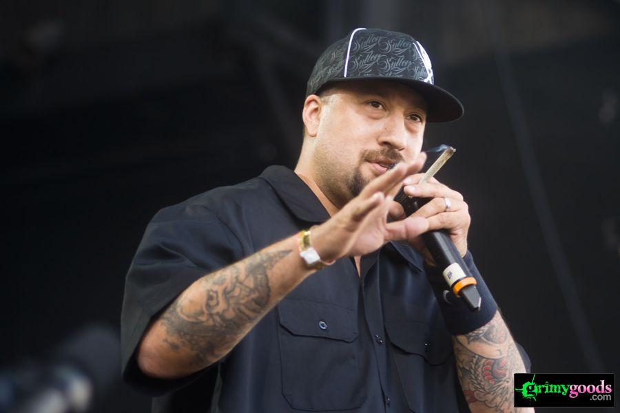 Cypress Hill's B-Real with a joint in his hand (of course).