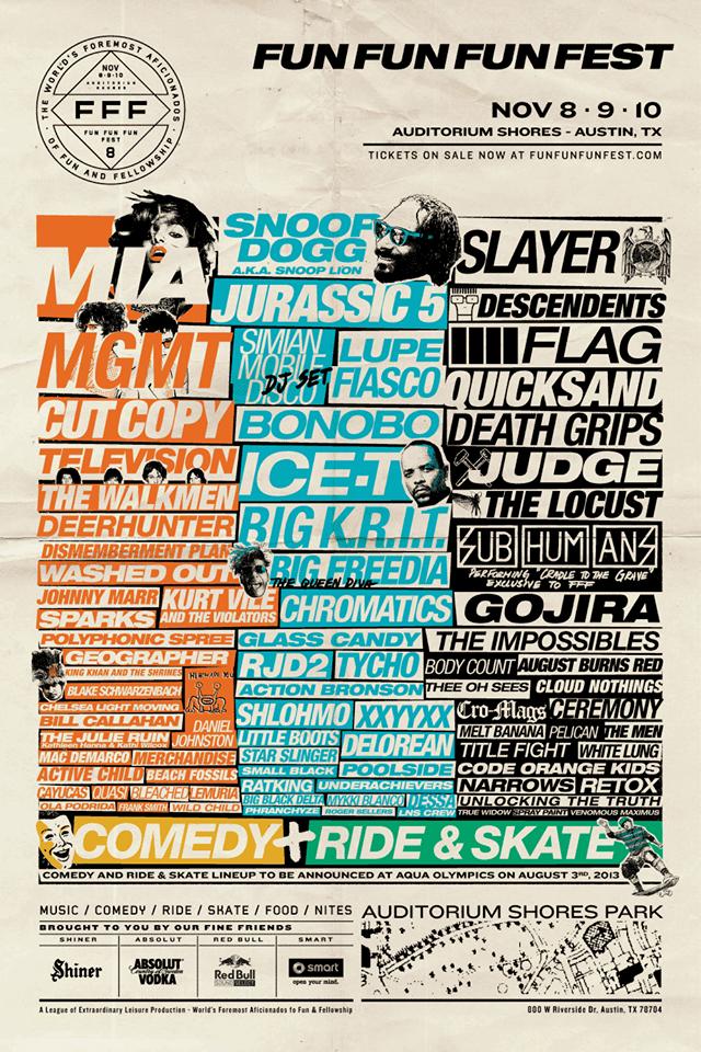 Fun Fun Fun Fest 2013 Line-Up poster